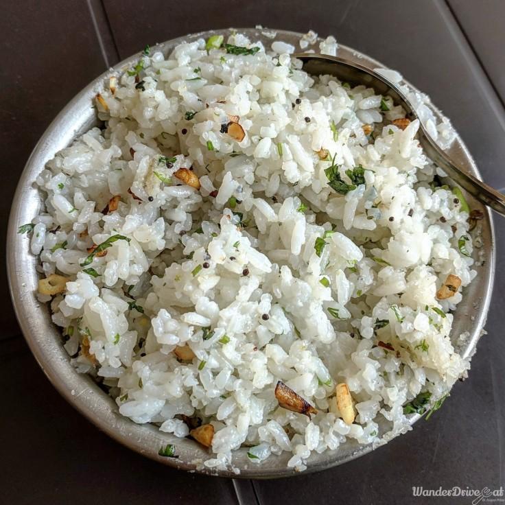 Saoji Khamang Baner WanderDriveEat Garlic Rice (Lasooni Bhaat)