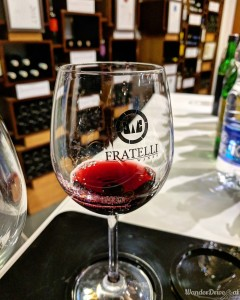 Fratelli Vineyards wine bar tasting red